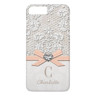Coral Rhinestone Look Heart Printed Lace and Bow iPhone 7 Plus Case