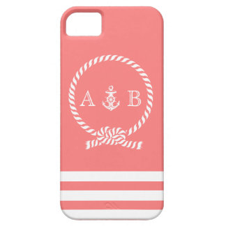Coral Rope and Anchor Monogram iPhone 5 Cover