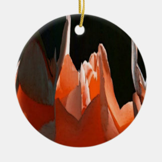 Coral Rose Abstract Double-Sided Ceramic Round Christmas Ornament