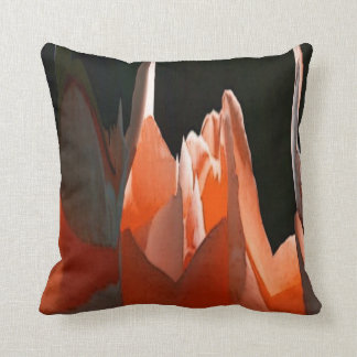 Coral Rose Abstract Throw Pillow
