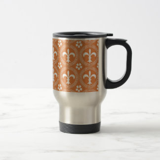 Coral Rose And White Fleur De Lis Pattern Stainless Steel Travel Mug