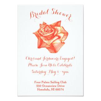 Coral Rose Bridal Engagement Shower Invitation