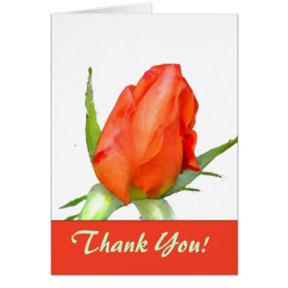 Coral Rose Bud Thank You Notecard Greeting Card