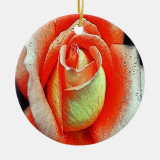 Coral Rose Round Ceramic Decoration