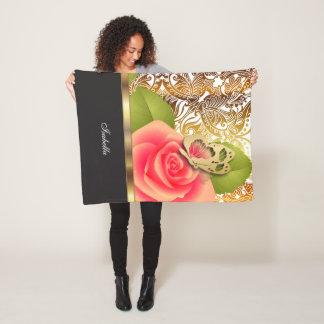 Coral Rose Floral Design with DIY Text Fleece Blanket
