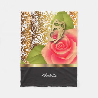 Coral Rose Floral Design with DIY Text Fleece Blanket