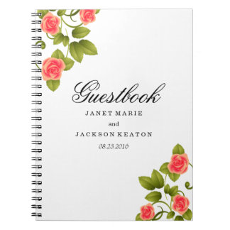 Coral Rose Flower Wedding - Guestbook Notebook