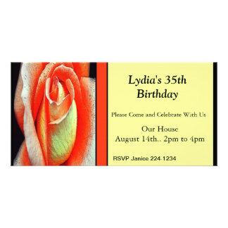 Coral Rose Invitation Custom Photo Card