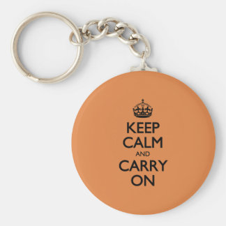 Coral Rose Keep Calm And Carry On Key Ring