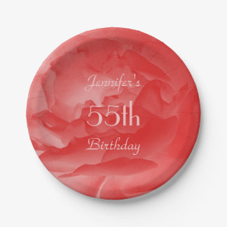 Coral Rose Paper Plates, 55th Birthday 7 Inch Paper Plate