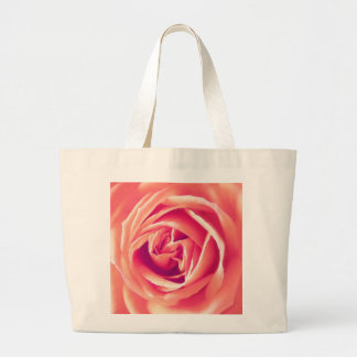 Coral rose print canvas bags