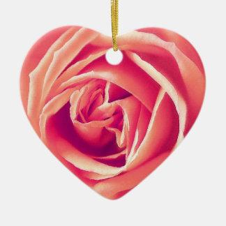 Coral rose print christmas tree ornament