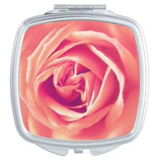Coral rose print makeup mirrors