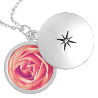 Coral rose print necklace