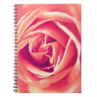 Coral rose print spiral note book