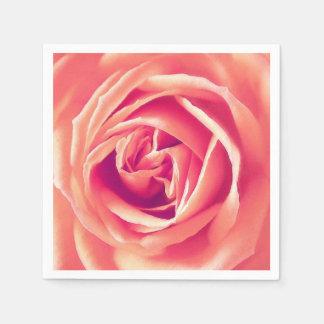 Coral rose print disposable napkins