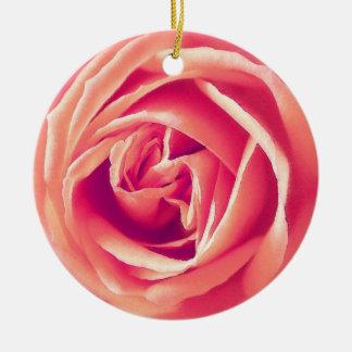 Coral rose print round ceramic decoration