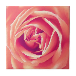 Coral rose print small square tile