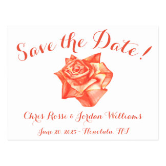 Coral Rose Save the Date Wedding Elegant Simple Postcard