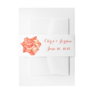 Coral Rose Simple Elegant Summer Wedding Invitation Belly Band