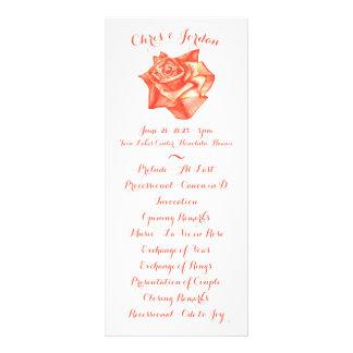 Coral Rose Simple Elegant Wedding Ceremony Program Rack Card