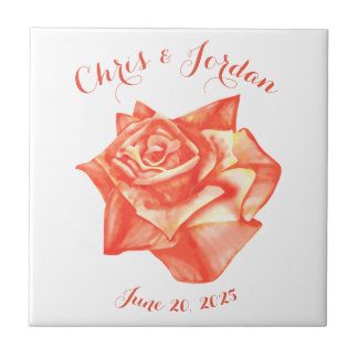 Coral Rose Simple Elegant Wedding Gift for Couple Ceramic Tile