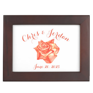 Coral Rose Simple Elegant Wedding Gift for Couple Keepsake Box