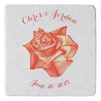 Coral Rose Simple Elegant Wedding Gift for Couple Trivet