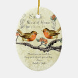 Coral Rose Vintage Bird Maid of Honour Ornaments