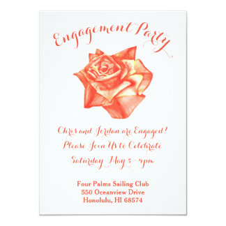 Coral Rose Wedding Engagement Party Invitation
