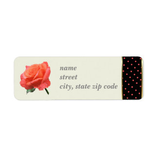 Coral Rose with Coral on Black Dot border Return Address Label