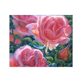 """Coral Roses"" Gallery Wrapped Canvas Print"