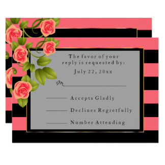 Coral Roses on Coral and Black Stripes Card