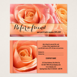 Coral Roses Referral Tell A Friend Business Card