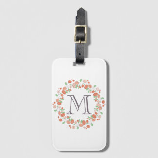 coral roses wreath monogram luggage tag