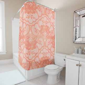 Coral Royal Antonietta White Candy Floral Lace Shower Curtain