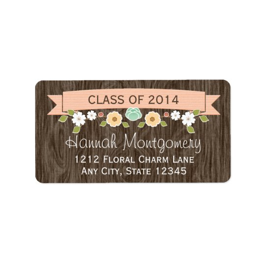 Coral Rustic Floral Graduation Return Address Address Label