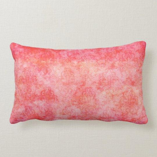 Coral Salmon Pink Watercolor Damask Pattern Lumbar Cushion