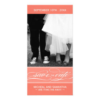 Coral Save the Date Photo Card (4x8)