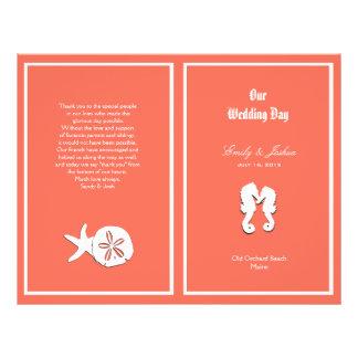 Coral Sea-life Beach Wedding Program Template Flyer