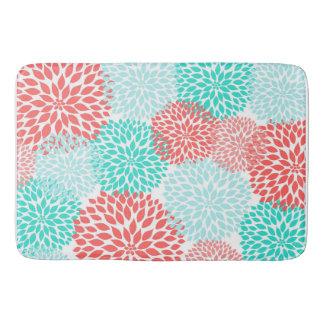 Coral Seafoam Teal Dahlia home decor bath mat