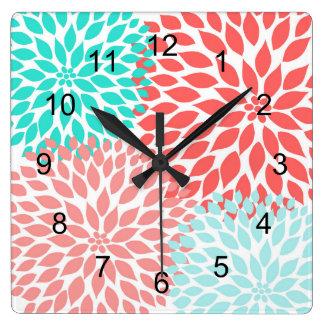 Coral Seafoam Teal Dahlia home decor wall clock