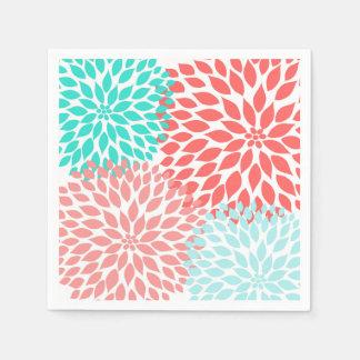 Coral Seafoam Teal Dahlia mums blossoms Disposable Serviette