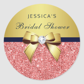 Coral Sequins Gold Navy Diamonds Bow Bridal Shower Classic Round Sticker