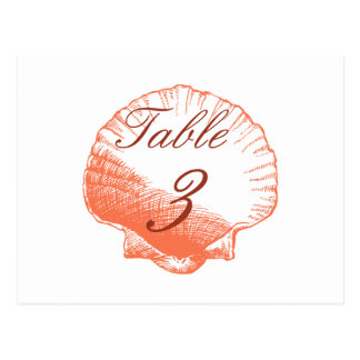 Coral Shells Beach Wedding Table Number Cards