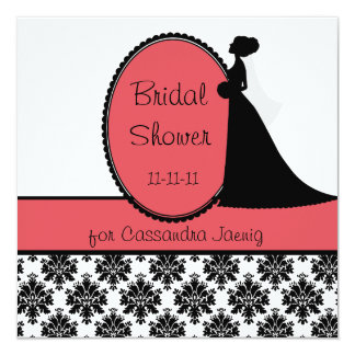 Coral Silhouette Bride Bridal Shower Invitation
