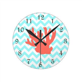 Coral Silhouette Round Clock