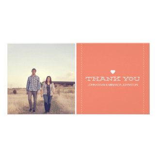 Coral Simply Chic Photo Wedding Thank You Cards Photo Card Template