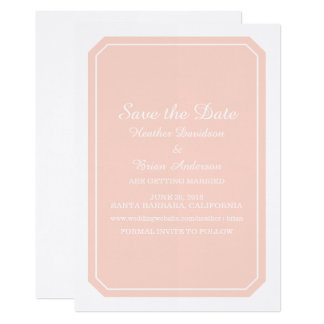 Coral Simply Elegant Save the Date Invite
