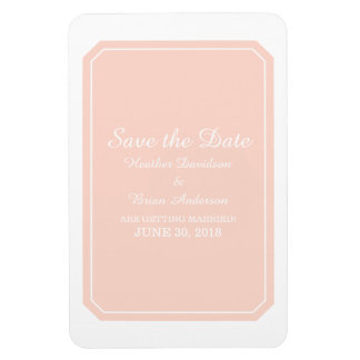 Coral Simply Elegant Save the Date Rectangular Photo Magnet